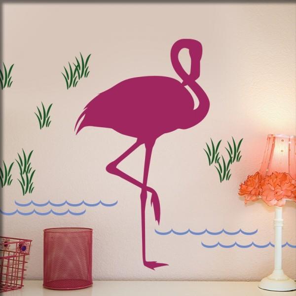 Wandtattoo Flamingo bunt