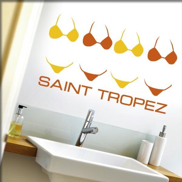 Wandtattoo Saint Tropez (gelb/orange)