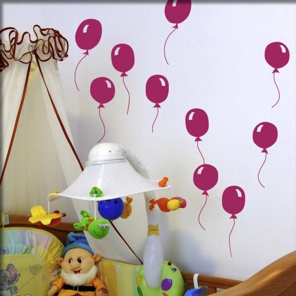 Wandtattoo 10 Luftballons