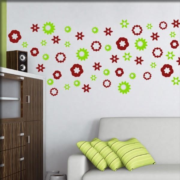 Wandtattoo Streublumen (rotgrün-S2)