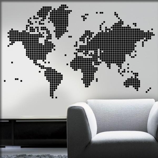 Wandtattoo Weltkarte digital