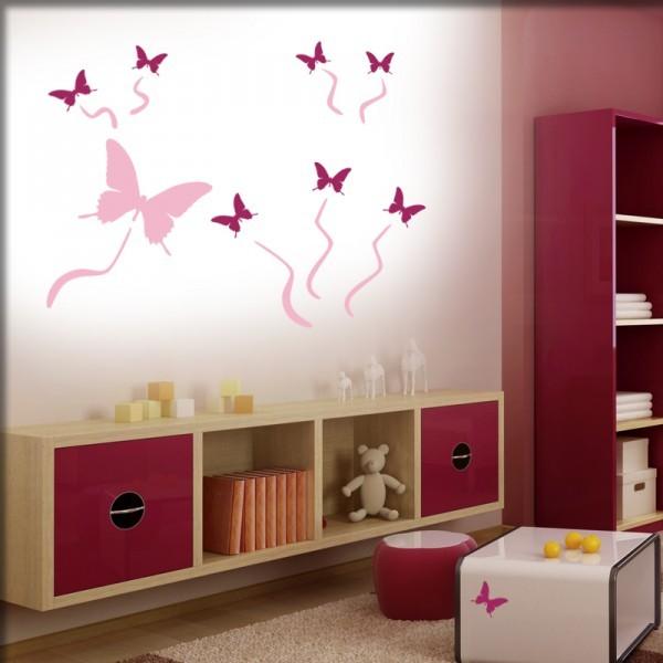 Wandtattoo 9 Schmetterlinge (lavendel-pink)