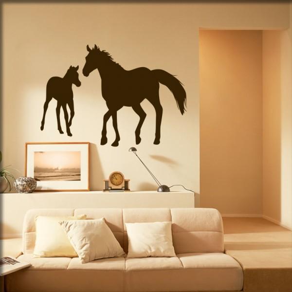 Wandtattoo Pferd mit Fohlen