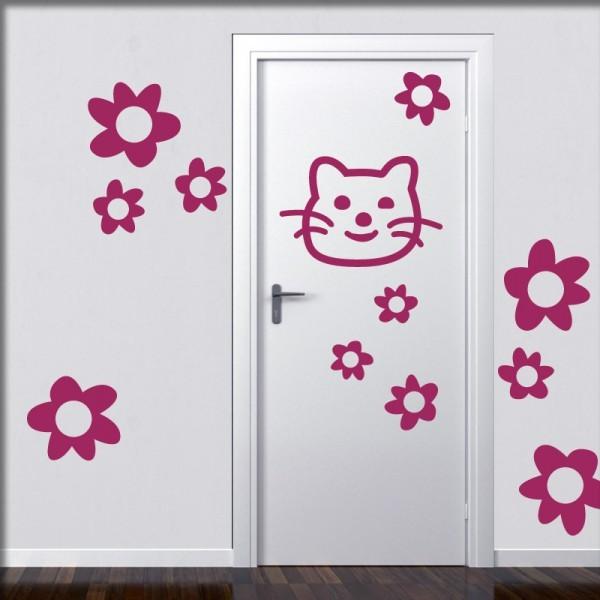 Wandtattoo Tür Katzen