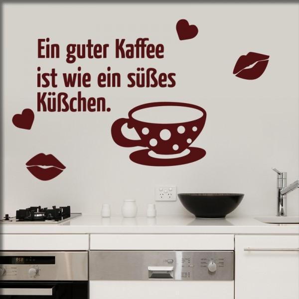 Wandtattoo Kaffee Kuss