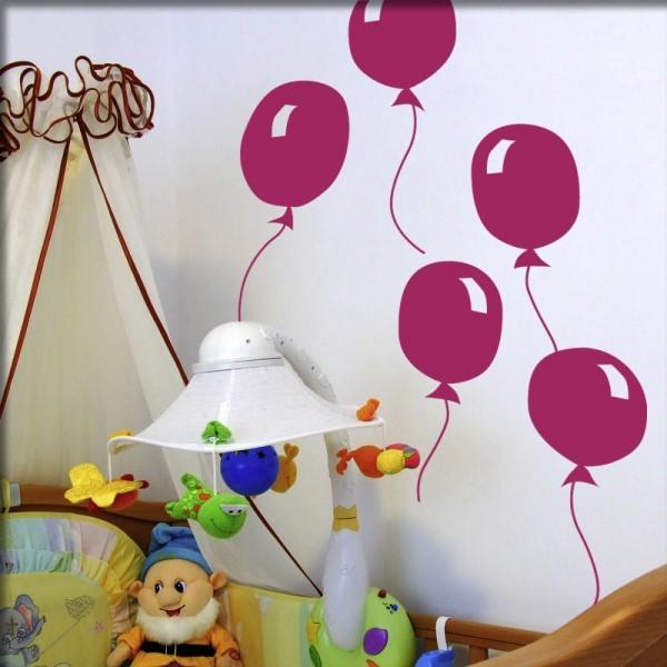 Wandtattoo 5 Luftballons