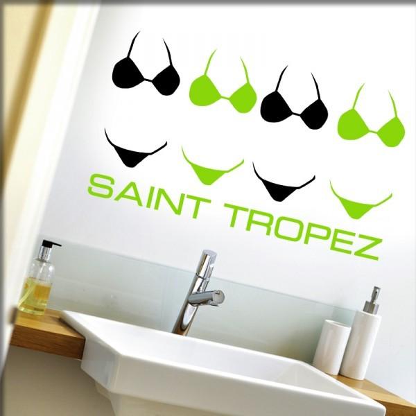 Wandtattoo Saint Tropez (schwarz/grün)