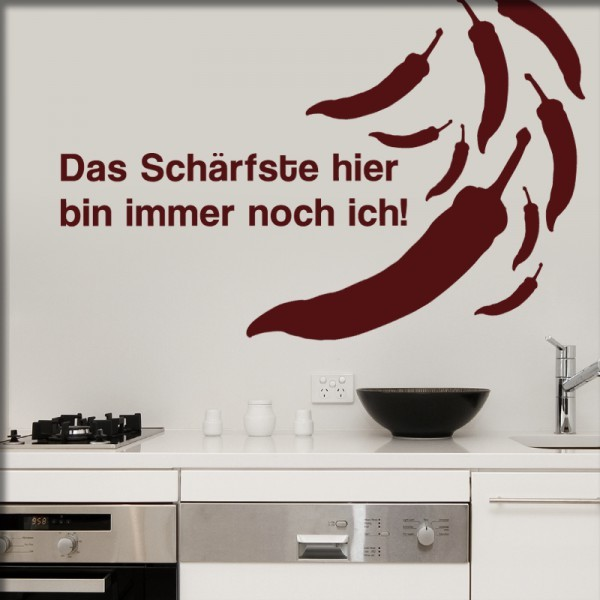 Wandtattoo Chilli mit Text